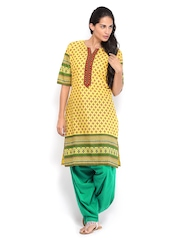 Shree Women Yellow & Green Printed Patiala Kurta Set