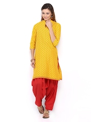 Shree Women Yellow & Red Patiala Kurta Set
