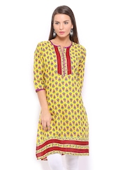 Shree Women Yellow & Red Printed Kurta