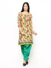 Shree Women Yellow & Green Printed Patiala Kurta