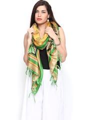 Shree Women Yellow & Beige Printed Bhagalpuri Silk Dupatta