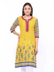 Shree Women Yellow Printed Kurta