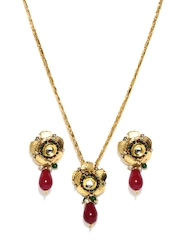 Sia Art Jewellery Gold Toned & Burgundy Jewellery Set