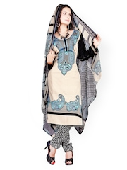 Silk Bazar Beige & Black Printed Crepe Unstitched Dress Material