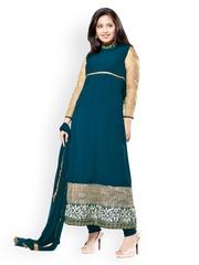 Silk Bazar Blue Embroidered Anarkali Georgette Unstitched Dress Material