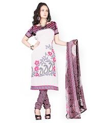 Silk Bazar White & Black Printed Crepe Unstitched Dress Material