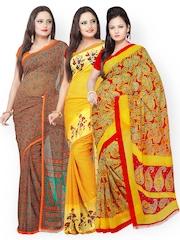 Silk Bazar Pack of 3 Georgette Printed Sarees