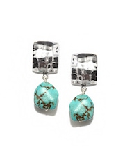 Fabindia Ananya Silver-Toned & Turquoise Drop Earrings