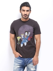 Simpsons Men Dark Brown Printed T-shirt