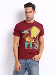 Simpsons Men Red Printed T-shirt