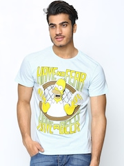Simpsons by Free Authority Men Blue Melange T-shirt