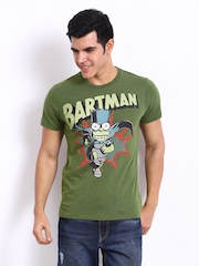 Simpsons Men Green Printed T-shirt