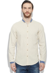 Sisley Men Cream-Coloured Printed Casual Shirt