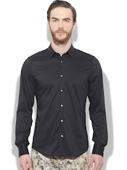 Sisley Men Black Berlino Slim Fit Casual Shirt