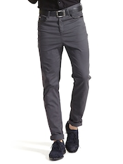 Sisley Men Grey Slim Fit Smart Casual Trousers