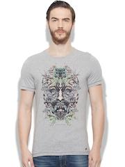 Sisley Men Grey Melange Slim Fit Printed T-shirt