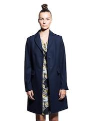 Sisley Women Navy Wool Blend Overcoat Jacket