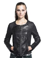 Sisley Women Black Studded Jacket