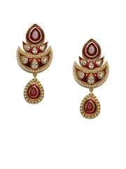 Siyora Gold-Toned & Red Drop Earrings