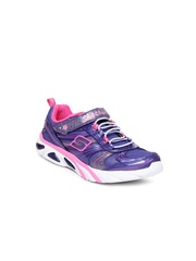 Skechers Girls Purple S Lights Lite Gemz Casual Shoes
