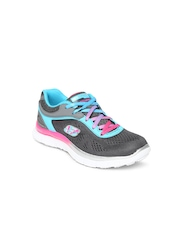 Skechers Girls Charcoal Grey Flex Running Shoes