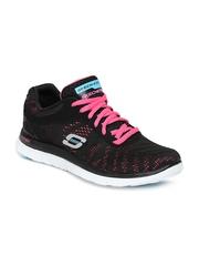 Skechers Women Black Flex Appeal-First Glance Training Shoes