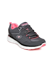 Skechers Women Grey Synergy Front Row Leather Training Shoes