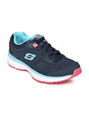 Skechers Women Navy Agility Perfect Fit Leather Training Shoes