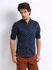 Slub Men Navy & White Bicycle Print Casual Shirt