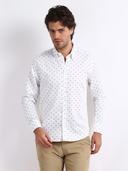 Slub Men White Bicycle Print Casual Shirt