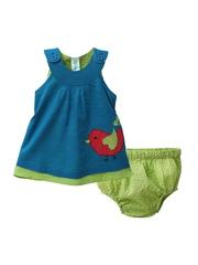 Snuggles Girls Blue Printed A-Line Dress