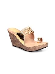 Soft & Sleek Women Gold-Toned Wedges