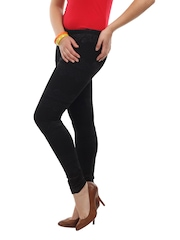 Soie Women Black Nylon Stretch Leggings