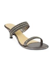 Sole Fry Women Steel-Toned Leather Heels