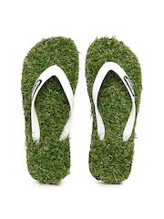 Sole Threads Men White & Green Grass Flip Flops