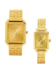 Sonata Gold Toned Dial Set of 2 His & Her Watches