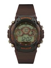 Sonata Men Brown Digital Watch 77006PP03