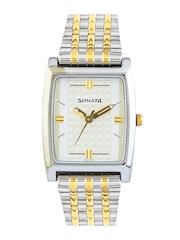 Sonata Men White Dial Watch