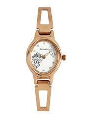 Sonata Women Silver Toned Dial Wedding Collection Watch