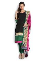 Span Black & Green Art Silk Unstitched Dress Material