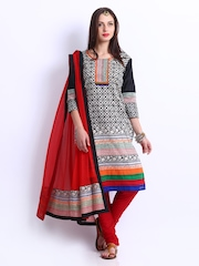 Span Black & White Printed Art Silk Unstitched Dress Material