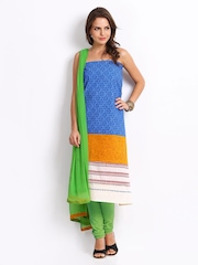 Span Blue & Green Cotton Unstiched Dress Material