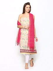 Span Cream Coloured & Pink Printed Unstitched Dress Material