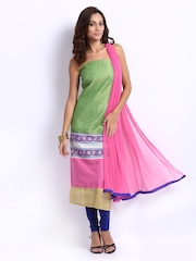 Span Green & Blue Cotton Unstitched Dress Material