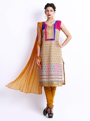 Span Women Beige & Mustard Yellow Cotton Unstitched Dress Material