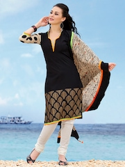 Span Black & Beige Art Silk Unstitched Dress Material