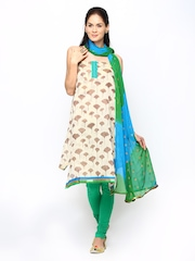Span Beige & Green Printed Unstitched Dress Material