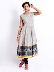 Span Women Off-White & Grey Anarkali Churidar Kurta with Dupatta