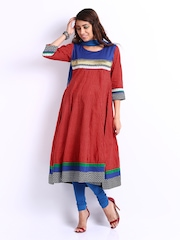Span Women Red & Blue Anarkali Churidar Kurta with Dupatta