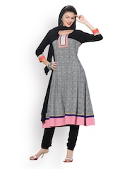 Span Women Black & White Printed Anarkali Churidar Kurta with Dupatta